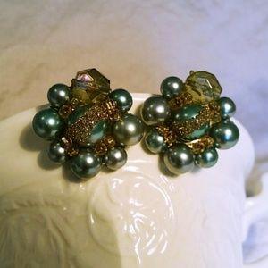 Vintage Blue Green Pearl Cluster Earings
